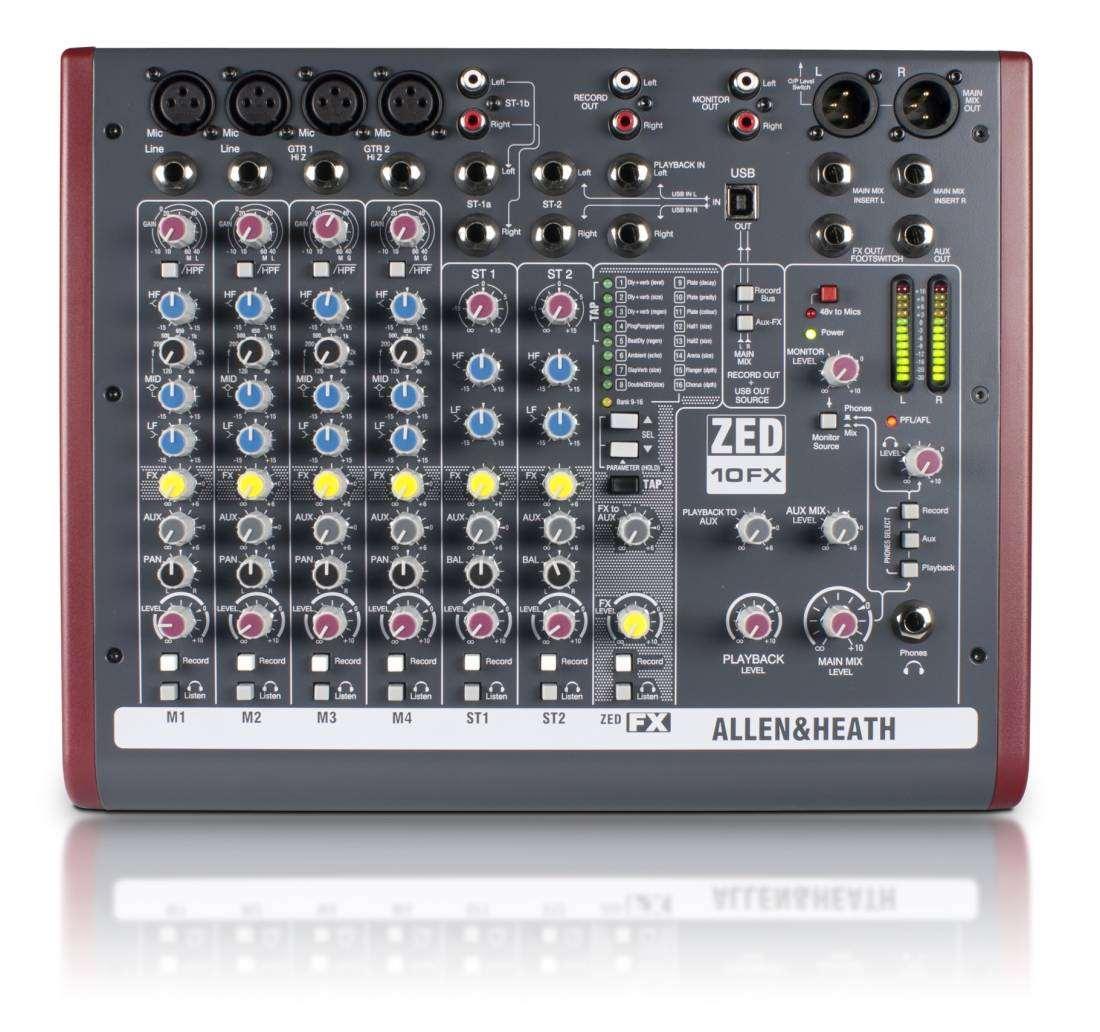 Allen Heath Zed 10fx 10 Channel Live Recording Mixer With Usb Cable Neutrik Xlr 1 4quot Combo Jacks And Phantom Power Sound Design Fx