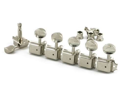 L6 Left-Handed Oval Metal Button Nickel Tuner Set