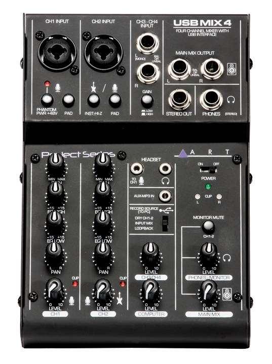 81657229d49 ART Pro Audio 4 Channel USB Recording Mixer - Long & McQuade Musical  Instruments