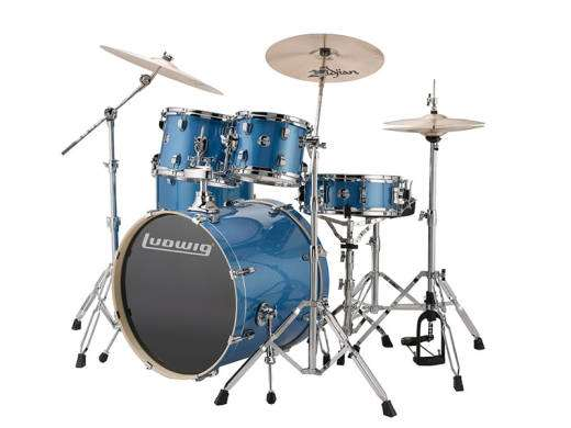 Evolution 5-Piece Drum Outfit w/Hardware and Cymbals - Blue Sparkle