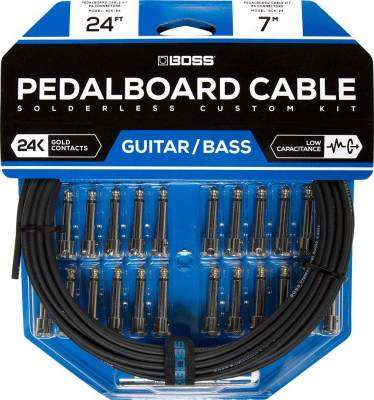 Solderless Pedalboard Cable Kit w/24 Connectors, 24 ft Cable