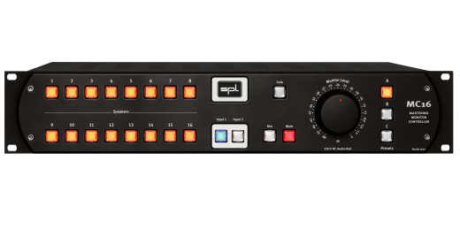MC16 16-Channel Mastering Monitor Controller w/120V Audio Rail - Black
