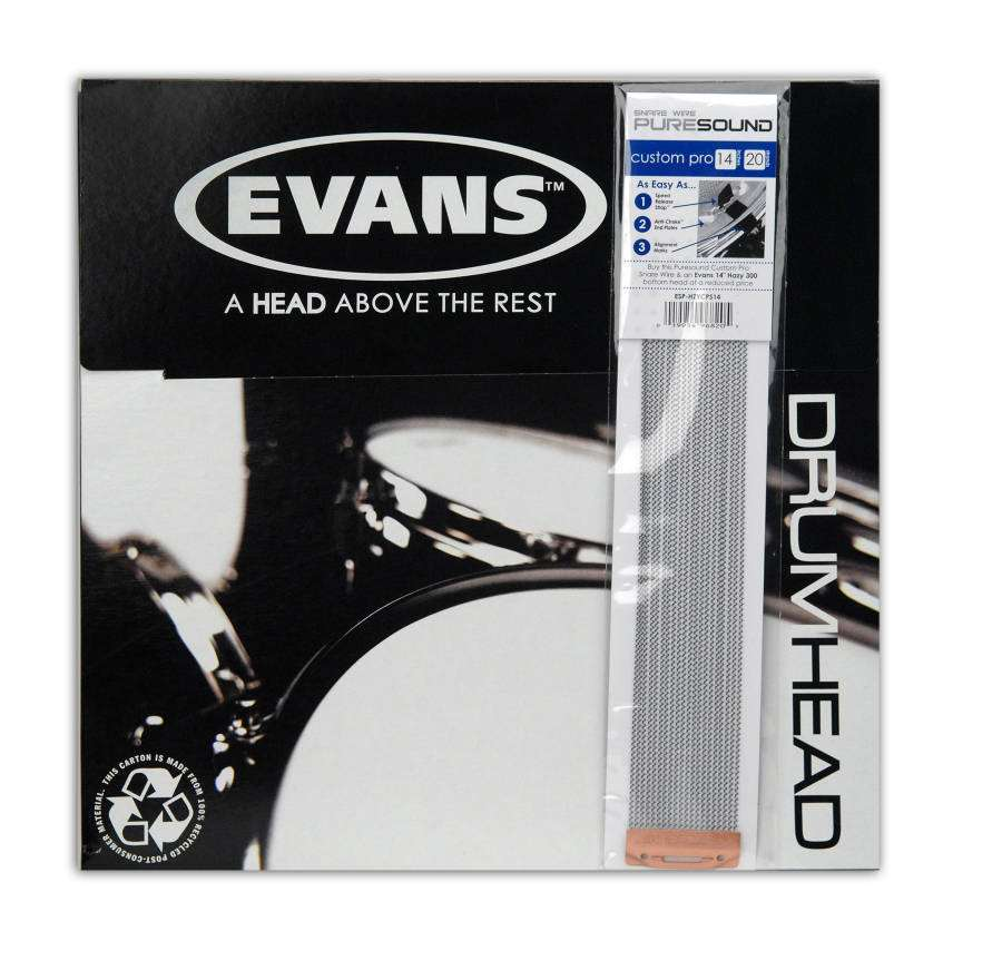 evans snare side drum head pack with puresound 14 inch custom pro snare wire long mcquade. Black Bedroom Furniture Sets. Home Design Ideas