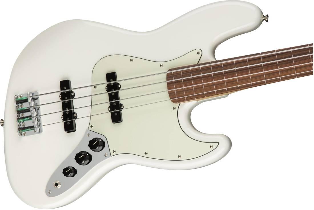 fender player jazz bass fretless pau ferro polar white long mcquade musical instruments. Black Bedroom Furniture Sets. Home Design Ideas