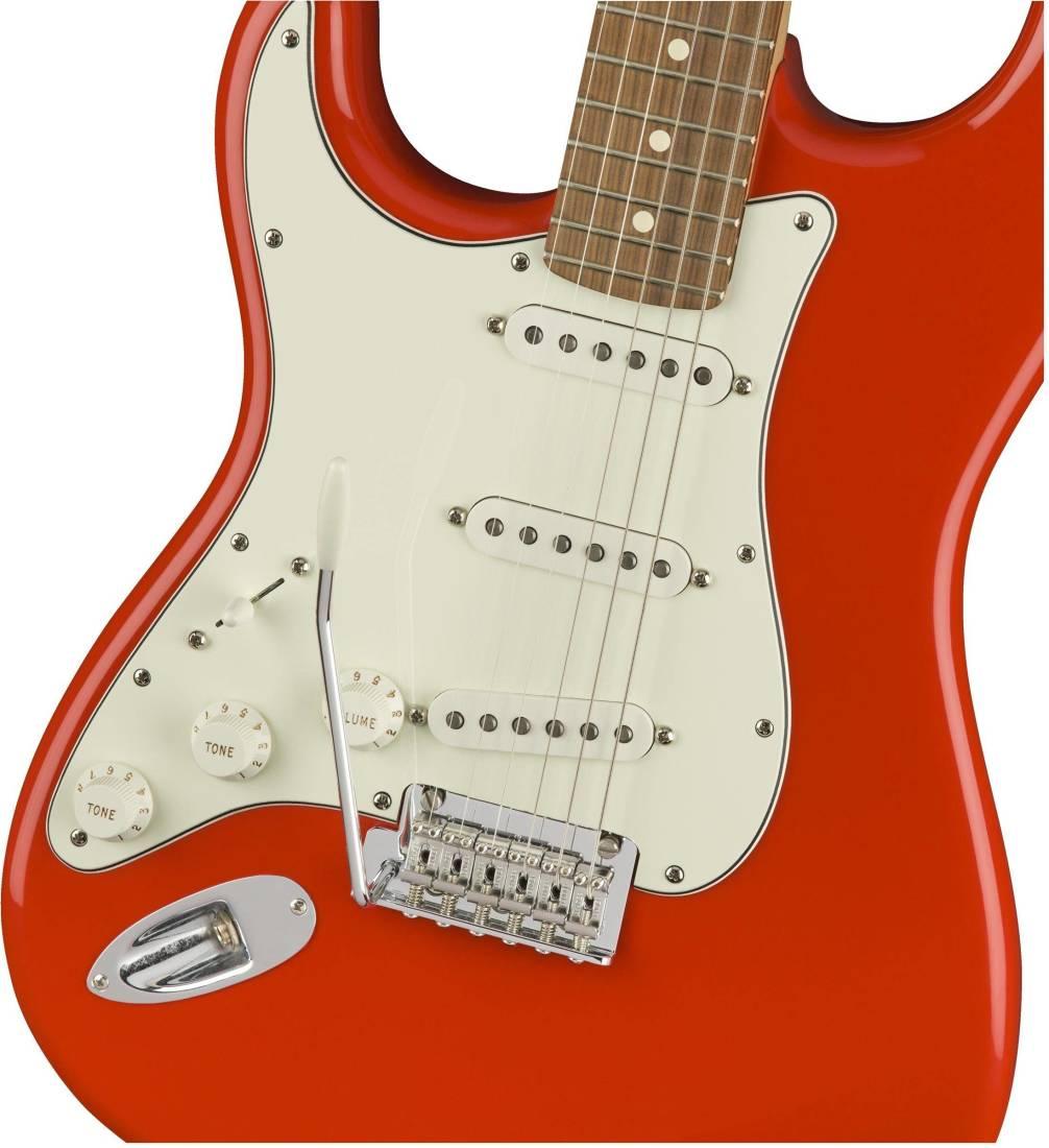 fender player stratocaster left handed pau ferro sonic red long mcquade musical instruments. Black Bedroom Furniture Sets. Home Design Ideas