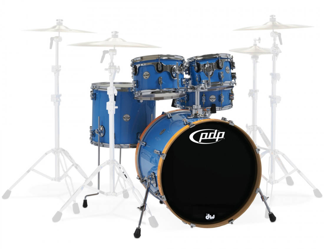 Drum Workshop - Concept LTD 5-Piece Shell Pack (22,10,12,16,Snare) - Blue  Lacquer/Orange BD Hoops
