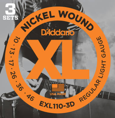 EXL110-3D - 3 Pack - Nickel Wound REG. LIGHT 10-46