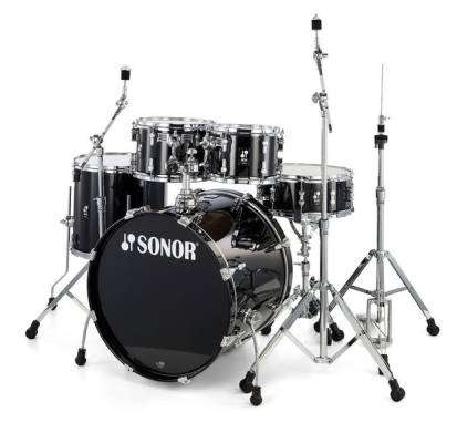 AQ1 Stage 5-Piece Drum Kit (22,10,12,16,14sn) w/Hardware - Piano Black