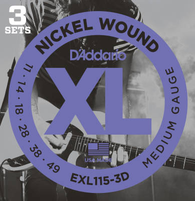 EXL115-3D - 3 Pack - Nickel Wound BLUES/JAZZ ROCK 11-49