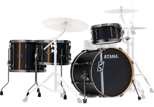 Hyper-Drive Duo 4-Piece Shell Pack (20,12,16, Duo Snare) - Flat Black Vertical Stripe