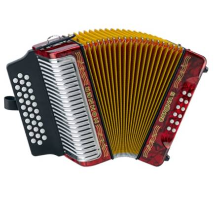Corona II Diatonic Accordion GCF - Red