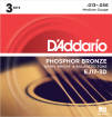 DAddario - 3 Pack of Phosphor Bronze Acoustic Strings
