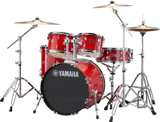 Rydeen 5-Pc Drum Set (20,10,12,14,Snare) w/Hardware, Cymbals and Throne - Hot Red