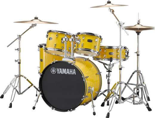 Rydeen 5-Pc Drum Set (20,10,12,14,Snare) w/Hardware, Cymbals and Throne - Yellow