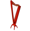 Harpsicle - Grand 33-string Harp w/ Pickup - Red Stain