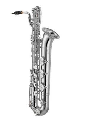One-Piece Bell Baritone Saxophone, Low A, Front F w/ Engraving & Case - Silver Plated