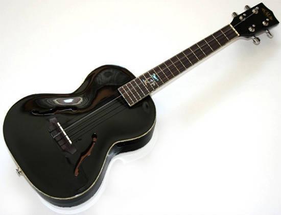 kala archtop tenor electric ukulele black long mcquade musical instruments. Black Bedroom Furniture Sets. Home Design Ideas
