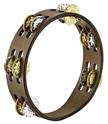 Double Row Tambourine Nickle/Brass - Walnut