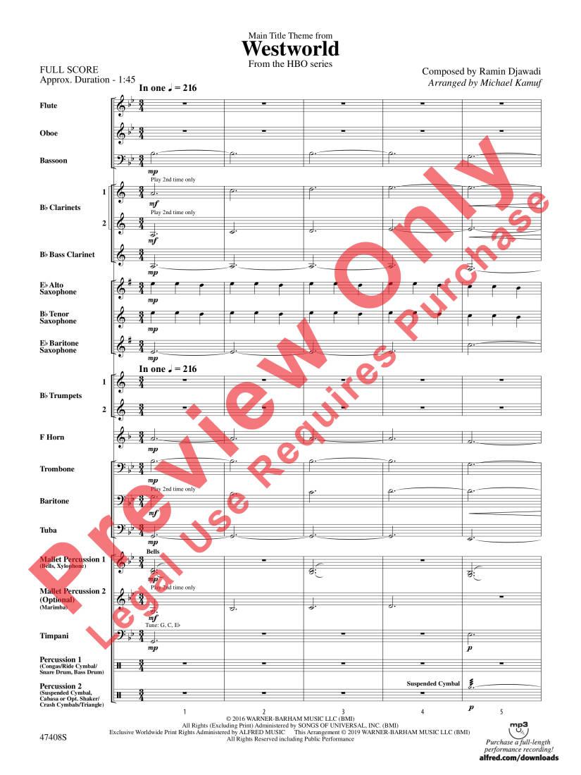 Main Title Theme from Westworld - Djawadi/Kamuf - Concert Band - Gr  2