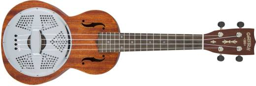 G9112 Resonator-Ukulele with Gig Bag, Ovangkol Fingerboard, Biscuit Cone - Honey Mahogany Stain