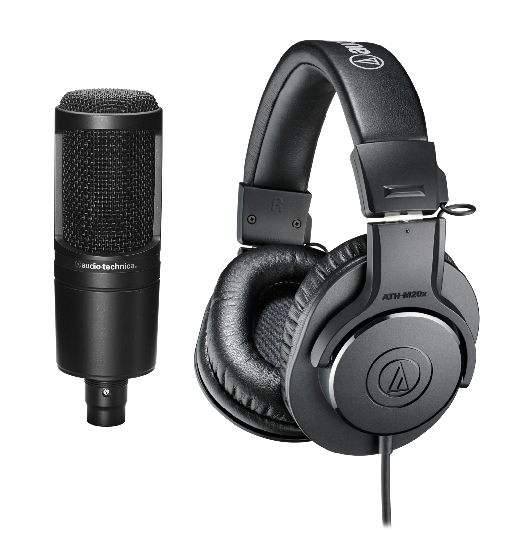 audio technica podcasting pack at2020 xlr microphone ath m20x headphones boom arm long. Black Bedroom Furniture Sets. Home Design Ideas
