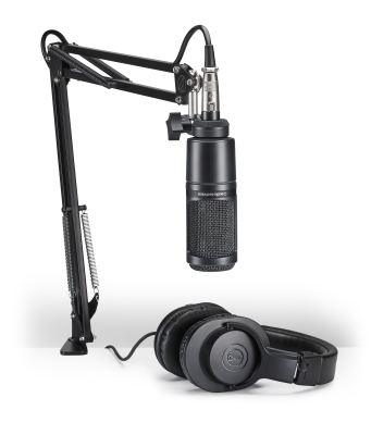 Podcasting Pack - AT2020-XLR Microphone, ATH-M20x Headphones & Boom-Arm