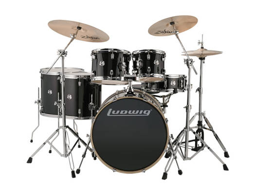 Evolution 6-Piece Shell Pack with ZBT Cymbals (10, 12, 14, 16, 22, 5x14S) - Black Sparkle