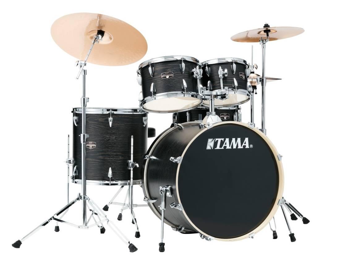 tama imperialstar 5 piece complete drum set 22 10 12 16 sd w hardware cymbals black oak. Black Bedroom Furniture Sets. Home Design Ideas