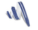 Levys - 2-1/2 Inch Double Racing Stripe Guitar Strap - White/Blue