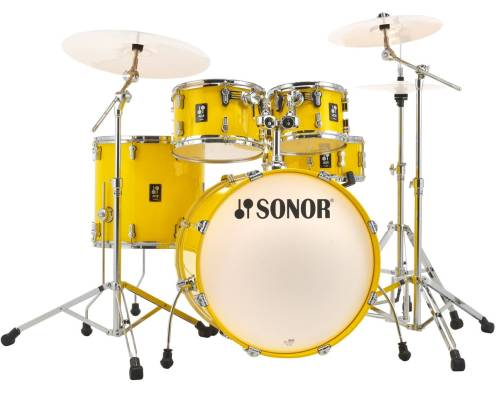 AQ1 Studio 5-Piece Drum Kit (20,10,12,14, 14 Snare) w/Hardware - Yellow