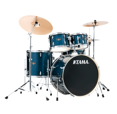 Imperialstar 5-Piece Complete Drum Set (22,10,12,16,SD) w/Hardware & Cymbals - Hairline Blue
