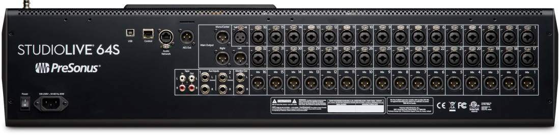 presonus studiolive 64s 64 channel digital mixer and usb audio interface long mcquade. Black Bedroom Furniture Sets. Home Design Ideas