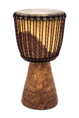 African Djembe L with Fully Carved Bottom - 11.5 x 22''