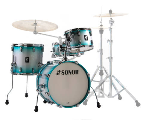 AQ2 Bop 4-Piece Drum Kit (18,12,14,14SD) - Aqua Silver Burst