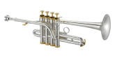 XO Professional Brass - 1700S Bb/A 4-Valve Piccolo Trumpet - Silver with Gold Accents