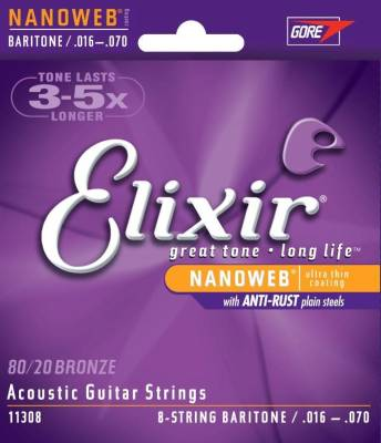 Acoustic 80/20 Bronze Guitar Strings with NANOWEB Coating, 8-String Baritone