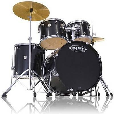 mapex voyager 5 piece drum kit with cymbals hardware throne black long mcquade musical. Black Bedroom Furniture Sets. Home Design Ideas