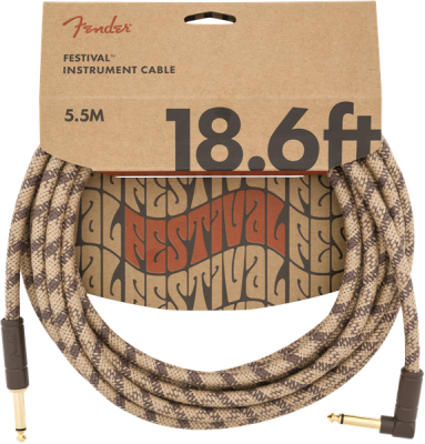 Festival Hemp Instrument Cable, Straight/Angle,18.6' - Brown Stripe