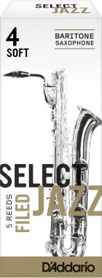Select Jazz Baritone Sax Reeds, Filed, Strength 4 Strength Soft, 5-pack