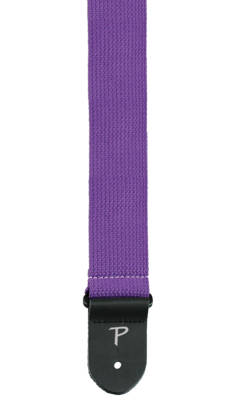 2'' Cotton Guitar Strap with Leather Ends - Purple