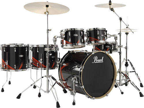 pearl le vba 6 piece drum kit black flava long mcquade musical instruments. Black Bedroom Furniture Sets. Home Design Ideas