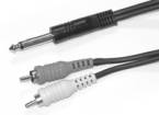 Link Audio - Link Audio 1/4 Mono-M  to 2x RCA-M Y-Cable - 6 foot