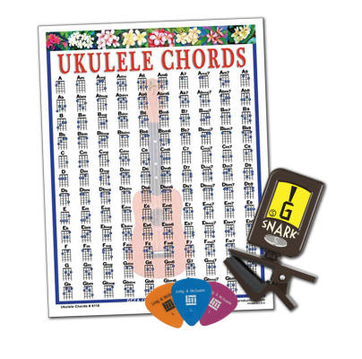 Ukulele Accessory Kit with N-6 Tuner, Chord Chart and Picks