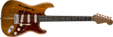 Fender Custom Shop - Artisan Koa Thinline Stratocaster, Roasted Ash Body with AAAA Figured Koa Top - Aged Natural, NOS