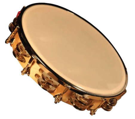 10-inch Wood Frame Tambourine with Synthetic Head