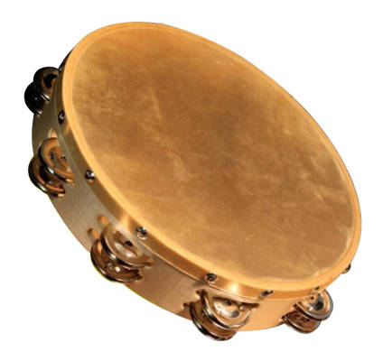 10-inch Wood Frame Tambourine with Natural Head