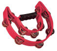 Granite Percussion - Heavy Duty Half-Moon Tambourine with Inside Row - Red