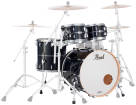 Pearl - Masters Maple Complete 4pc Shell Pack 22/10/12/16 - Piano Black with Silver Stripe