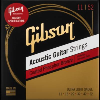 Coated 80/20 Bronze Acoustic Strings - Ultra Light 11-52