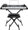 Alesis - Harmony 61 MKII Keyboard Bundle with Bench, Stand, Headphones and Microphone